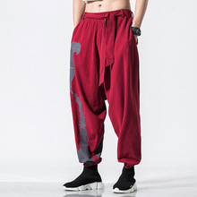 5XL Men Sweatpant Linen Chinese Traditional Loose Wide Leg Harem Pant Bloomers Leisure Jogger Running Tai Chi Fitness Yoga