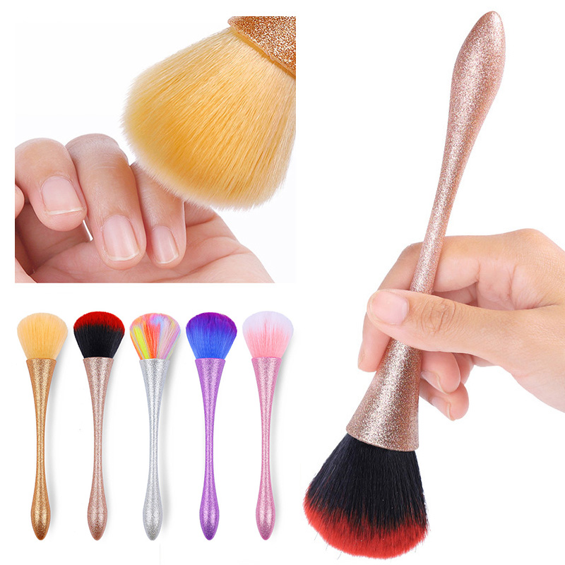 Nail Cleaning Brush Soft Hair Acrylic UV Gel Powder Dust Remover Brushes Colorful Aluminum Handle Nail Art Care Tool