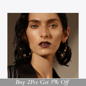 Image 2 - Enfashion Jewelry Geometric Pearl Line Hoop Earrings Gold color Stainless Steel Circle Earrings For Women Earings EEF1014