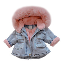 Warm 2019 Winter Baby Girl Denim Jacket Plus Velvet Real Fur Toddler Girl Outerwear Coat 1-6Years Kids Infant Girl Parka Outfits(China)