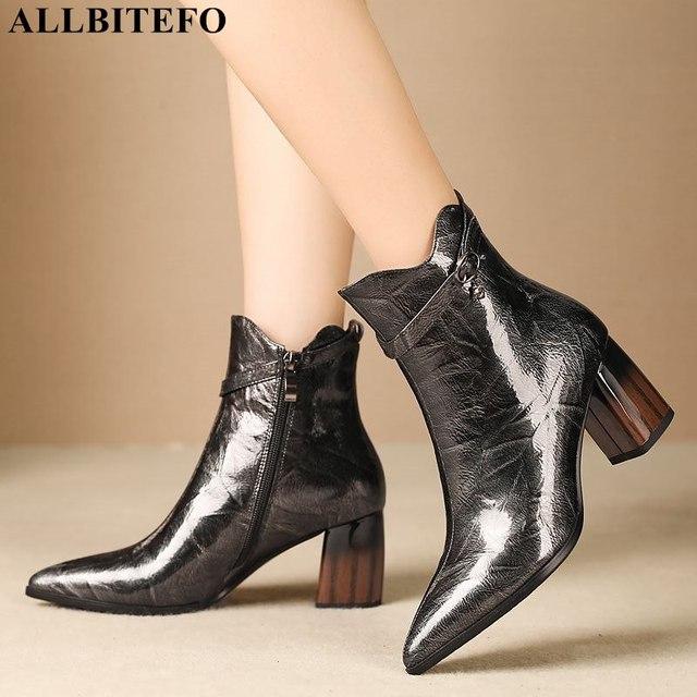 ALLBITEFO แฟชั่นรองเท้าส้นสูงข้อเท้าผู้หญิงของแท้หนัง pointed toe หนาฤดูหนาวหิมะบู๊ทส์สตรี