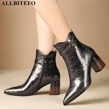 ALLBITEFO ماركة الموضة عالية الكعب حذاء من الجلد للنساء جلد طبيعي أشار تو كعب سميك الشتاء الثلوج أحذية النساء الأحذية