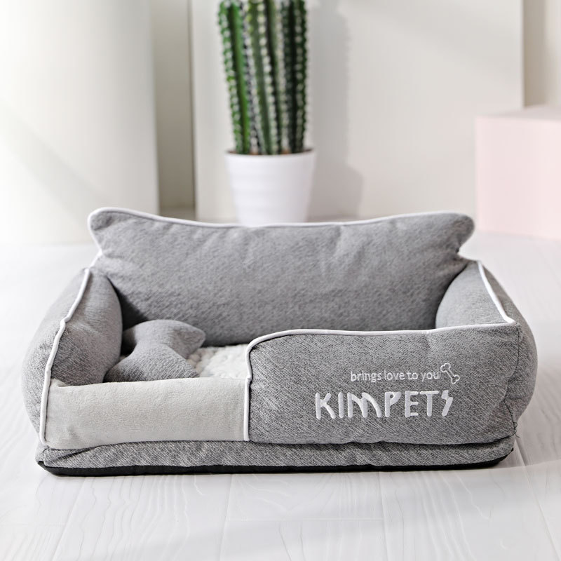 Dog Beds Warm Sleeping Cotton Puppy Bed Washable Detachable Oxford Cloth Kennel Cat Nest Bottom Waterproof Small Cat&Dog Nest