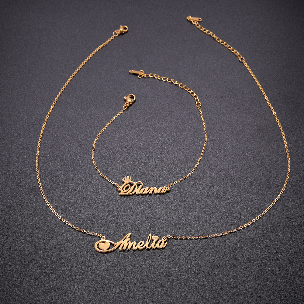 Personalized Custom Name Necklace For Women Girls Stainless Steel Letter Necklace Customized Nameplate Gift