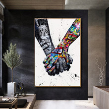 Street Graffiti Art Canvas Painting Lover Hands Art Wall Posters and Prints Inspiration Wall Picture for Living Room Home Decor