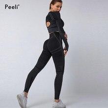 Peeli 2 pc conjunto de esportes seo sem costura yoga conjunto terno do esporte para as mulheres manga longa ginásio colheita superior cintura alta leggings fitness gym terno