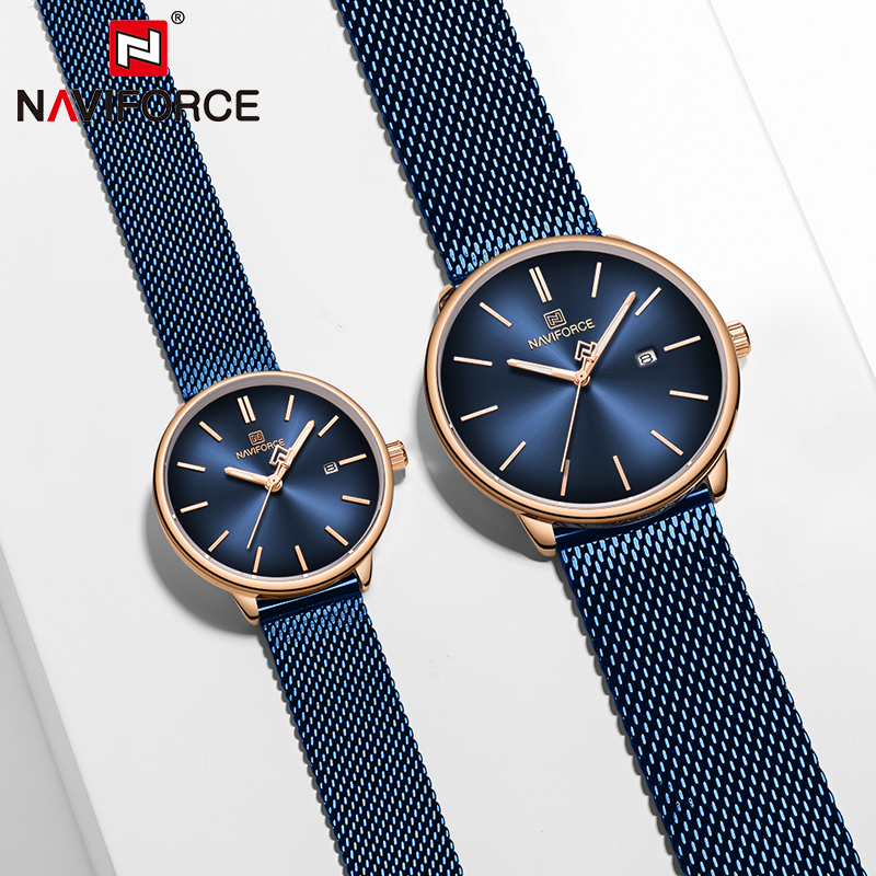 NAVIFORCE Couple Watch Mens Watch Simple Luxury Quartz Wristwatch Women Clock For Male Female Waterproof Lovers Thin Watch 2020