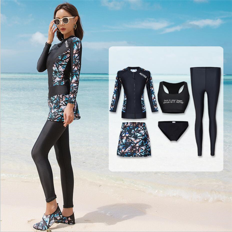 MEIYIER 2020 Modest Full Body Swimsuit Burkini For Muslim Womens Skirted Islamic Swimwear Bikini Beachwear Plus Size M-XXL