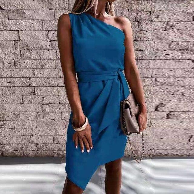 Vestido de fiesta liso con hombros descubiertos para Mujer, minivestido Sexy sin mangas ajustado con cinturón, vestido drapeado Irregular informal 2021 4