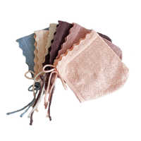 Sombreros para bebé niña 100%, gorros de algodón de Color sólido para bebés de 0 a 24 meses, sombrero de punto para bebés recién nacidos con flores de encaje