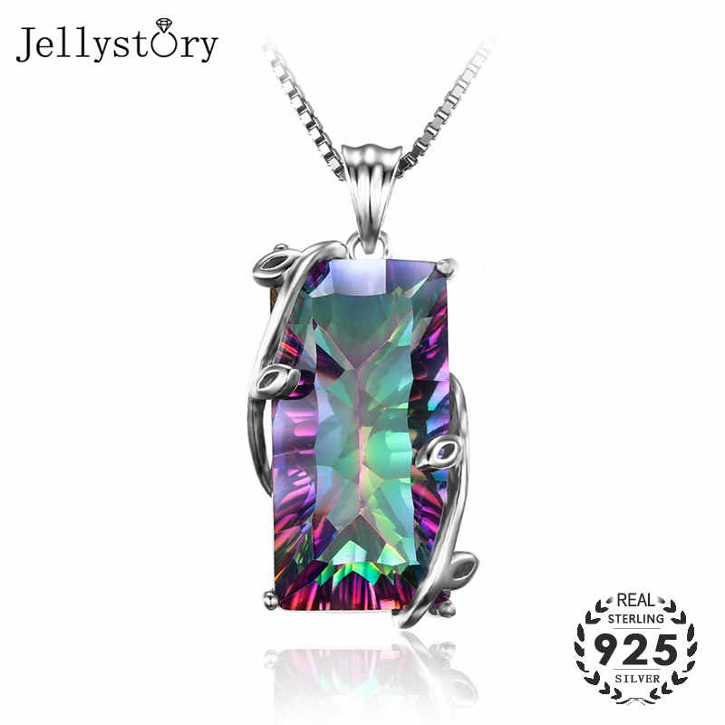 Jellystory Silver 925 Jewelry Necklace with Rectangle Topaz Gemstones Pendants for Women Wedding Engagement Party Gift Wholesale