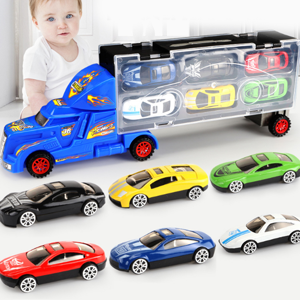 7Pcs/set Mini Transport Cars Alloy Carrier Truck Car Action Figure Model Toy Gift Box Set Boy Baby Toys For Kids Birthday Gifts