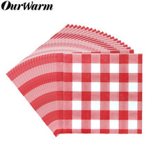 Wedding Papieren Servet Wegwerp Servies Plastic Tablcloth Papier Plaat Rode Plaid diner Tafel Kerst Decoratie Tafel Dekken(China)