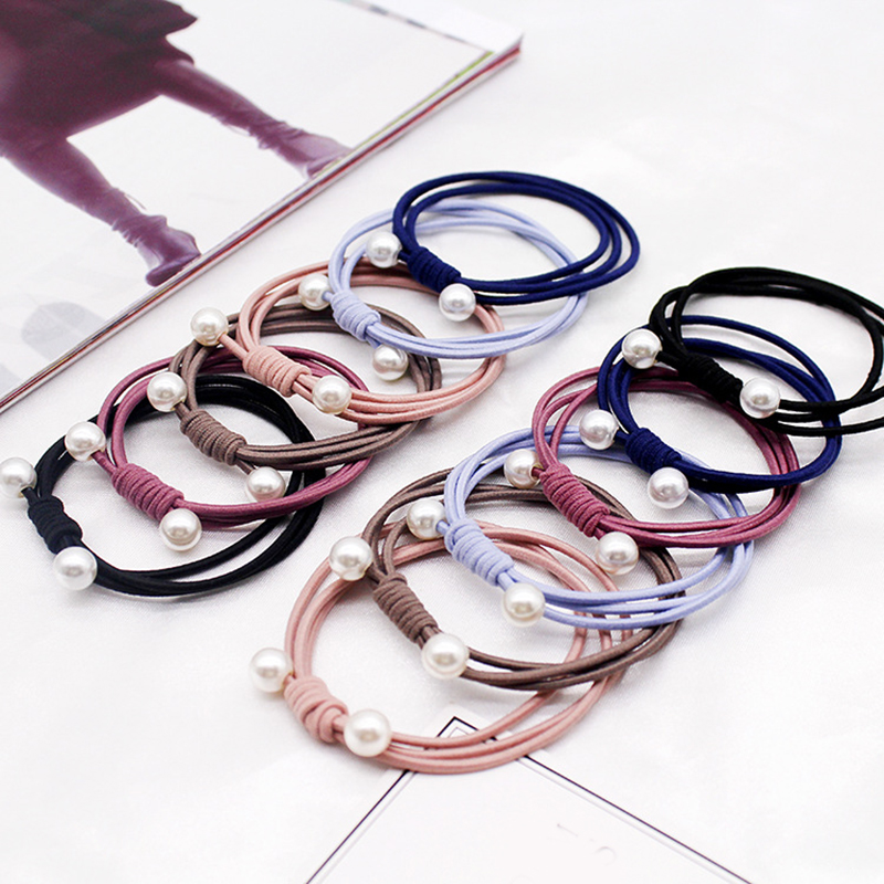 Korea Style Simple Knotted Pearl Ponytail Hair Rope Sweet Simple Solid Hair Scrunchie Elastic Hair Accessories For Girls