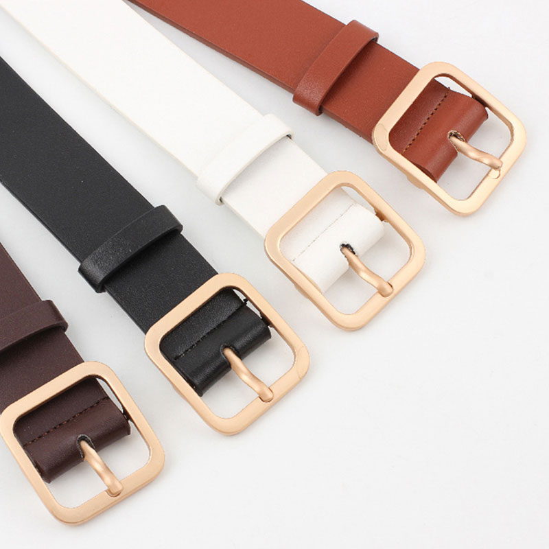 Faux Leather Square Buckle   Belts   Women Casual Solid Wild Adjustable   Belts   Decoration Ladies Fashion Accessories For Jeans Dress