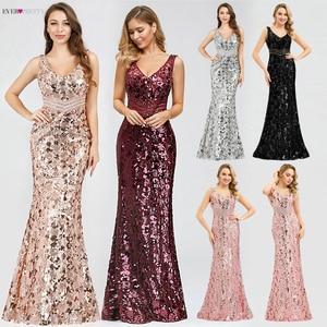 Image 2 - Блестящие женские платья с блестками, длинные летние платья русалка без рукавов с v образным вырезом, элегантные вечерние платья 2020