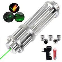 Caça g017/r017 alta potência verde ponteiro laser vermelho caneta 532nm lanterna linha contínua 5000 metros carregador + bateria cabeça laser