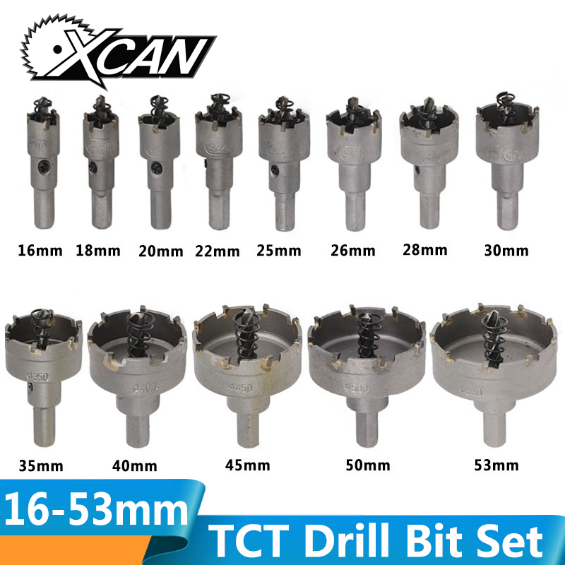 XCAN 13pcs 16-53mm Hole Saw Bit Set Carbide Tipped Hole Saw Cutter Wood/Metal Core Drill Bit Hole Saw Drill Bit