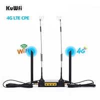 Router inalámbrico WiFi KuWFi 4G LTE 300Mbps Cat 4 CPE industrial de alta velocidad con ranura para tarjeta SIM y 4 Uds antenas externas