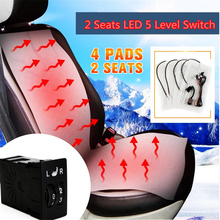Universal Heated Seat Pads Carbon Fiber +5 Dial Dual Switch 12V Car Styling Warm Cushions For 2 Front