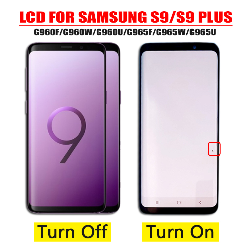 ORIGINAL AMOLED Replacement for SAMSUNG Galaxy S9 G960 S9+ G965F LCD Touch Screen Digitizer with Frame display +small spot