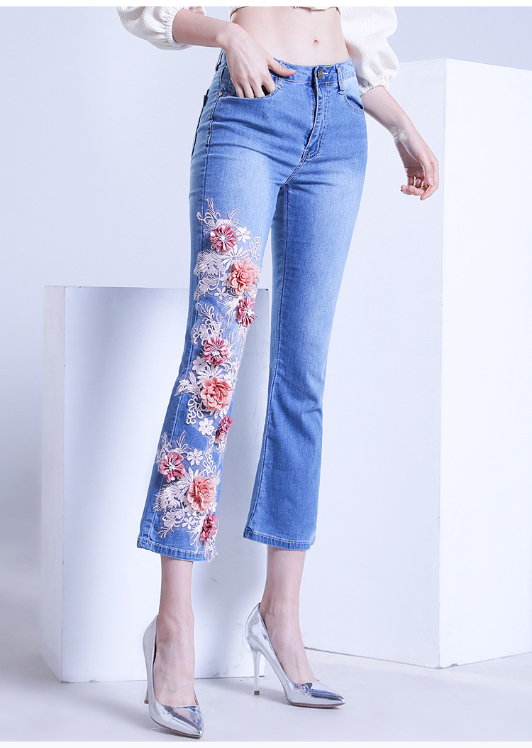 KSTUN FERZIGE women jeans cropped pants high stretch light blue spring and summer embroidery floral flares jeans mujer 2019 yong girls 18