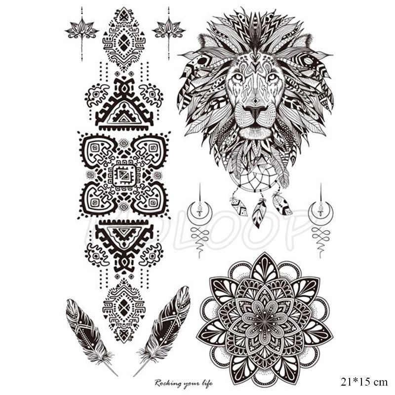 Fake Tatoo Black Mandala Flower Necklace Totem Hand Tattoo Sticker Big Tatto Body Art Back Arm Belly For Women Girl Men
