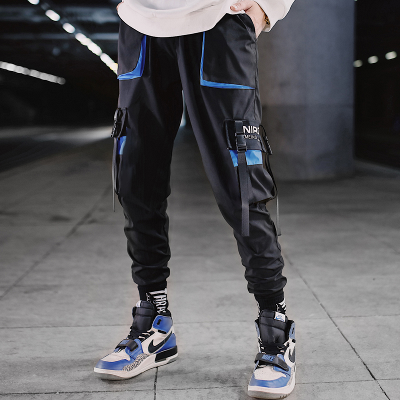 Streetwear Men Hip Hop Patchwork Sweatpants Joggers Trousers Casual Drawstring Sportwear Pants Male 2020 New Men Cargo Pants