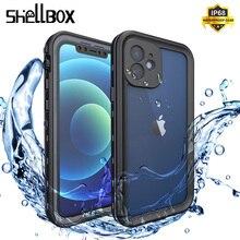 Shellbox جراب سيليكون مقاوم للماء لهاتف iPhone 12 ، 11 Pro Max ، مقاوم للصدمات ، جراب صغير للسباحة