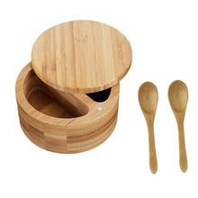 1 Set Bamboo Spice Jar Set Seasoning Pot Salt Pepper Storage Jar with Spoons