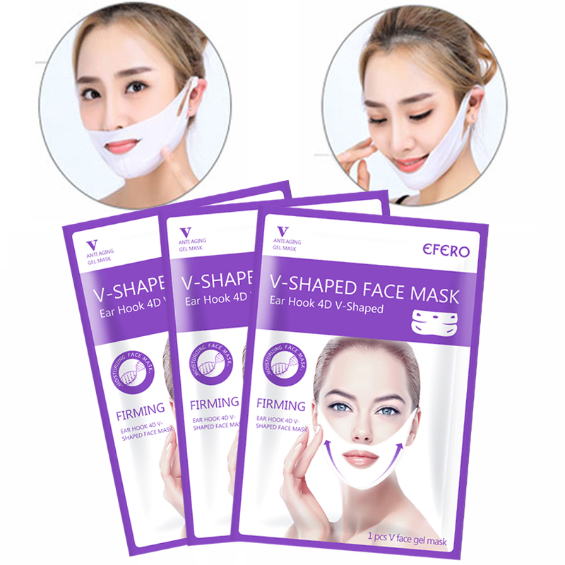 4D Lifting Gel Face Mask V-Shape Sliming Sheet Masks Anti Wrinkle Face Slimming Bandage Chin Check Neck Thin Mask Face Care