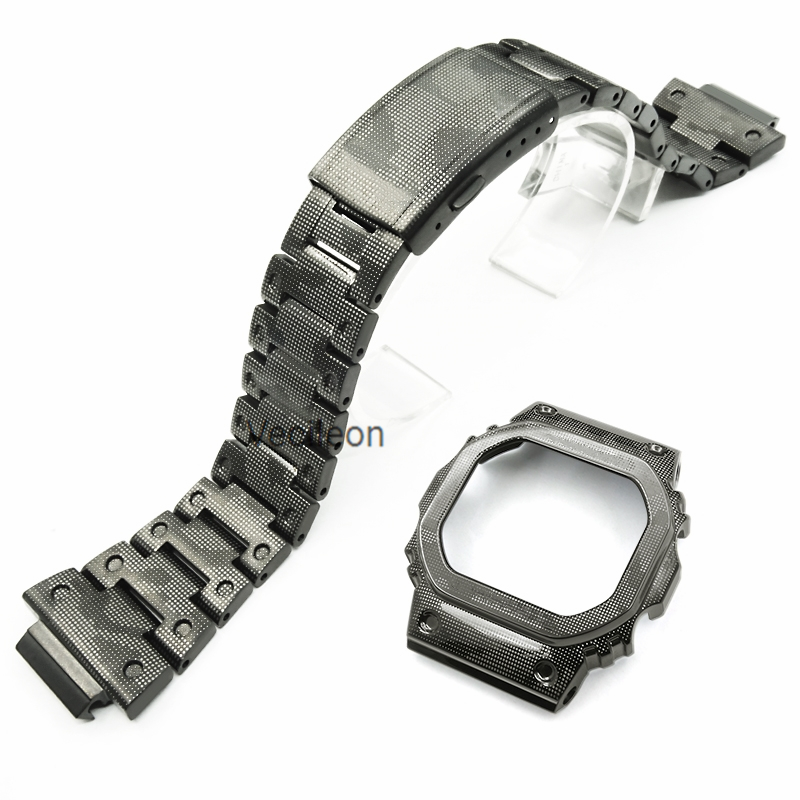 316L Stainless Steel New Camouflage Stainless Watchbands For DW5600 GW-M5610 GW5000 Watchband Bezel/Case Strap Metal Watch Band