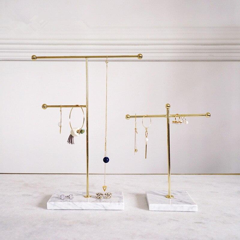 Металлическая мраморная вешалка для украшений держатель Органайзер золотое ожерелье серьги дисплей стойка для показа дома декоративные п