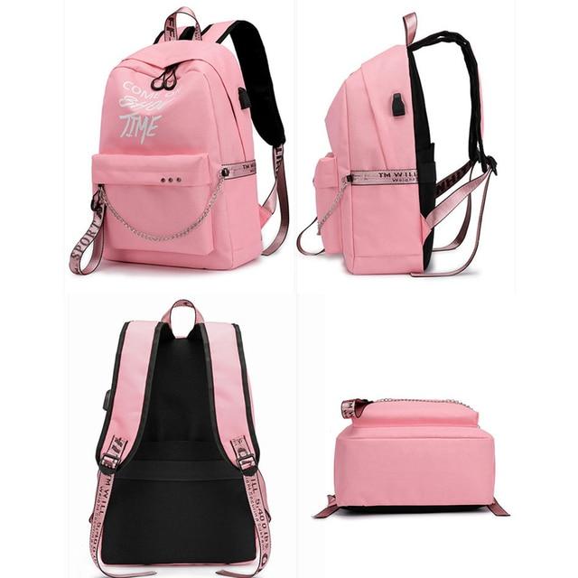 Winmax Luminous USB Charge Women Backpack Fashion Letters Print School Bag Teenager Girls Ribbons Backpack Mochila Sac A Dos 2