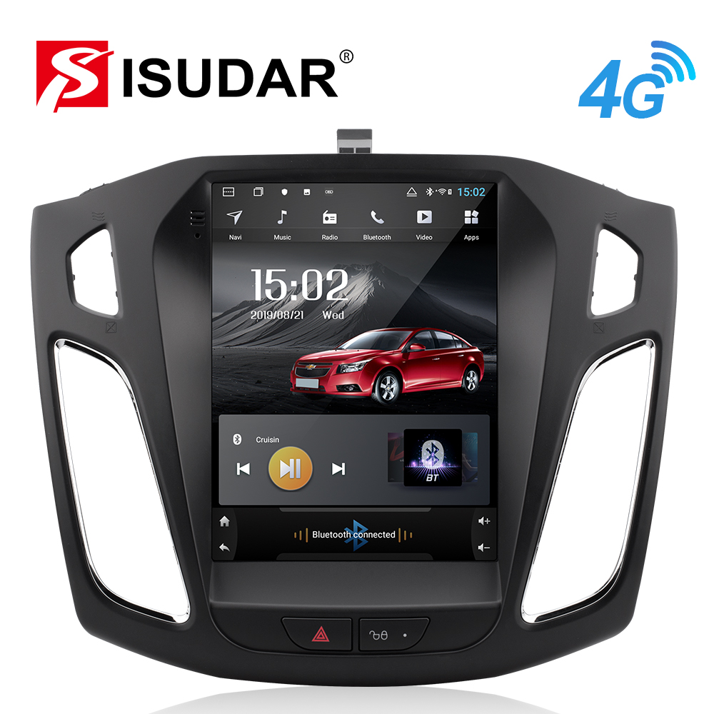 Isudar H53 Vertical 1 Din Android Auto Radio For Ford/Focus 2012- GPS Car Multimedia Video Player RAM 4G ROM 64G For Tesla Model image