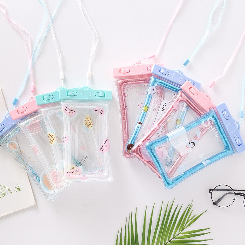 Cute Sealing Waterproof Phone Bags with Strap Protect Bag Dry Pouch Protective Case Cover 6 inch Smart Phone Swimming Bags