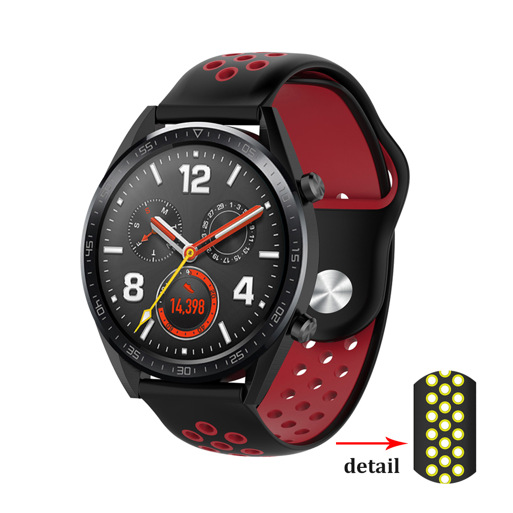 Huawei Watch Gt Strap For Samsung Gear S3/Galaxy Watch 46mm/Amazfit Bip/Honor Magic Double Color Silicone Wrist Bracelet Band