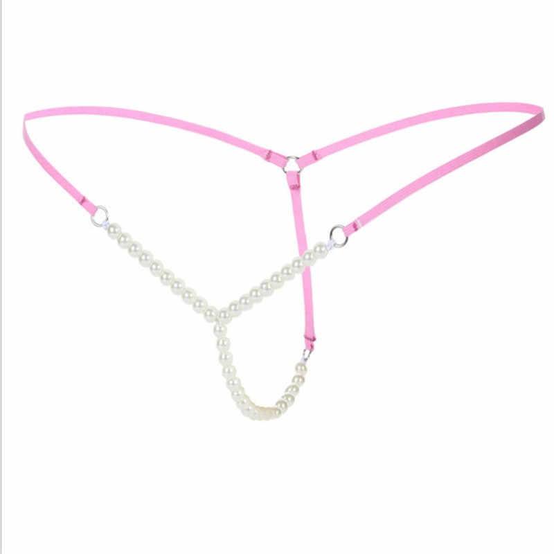 Sexy femmes perle G string tongs élastiques slips entrejambe ouvert tongs sous-vêtements sans couture vêtements sexuels culotte érotique chaude avec perle
