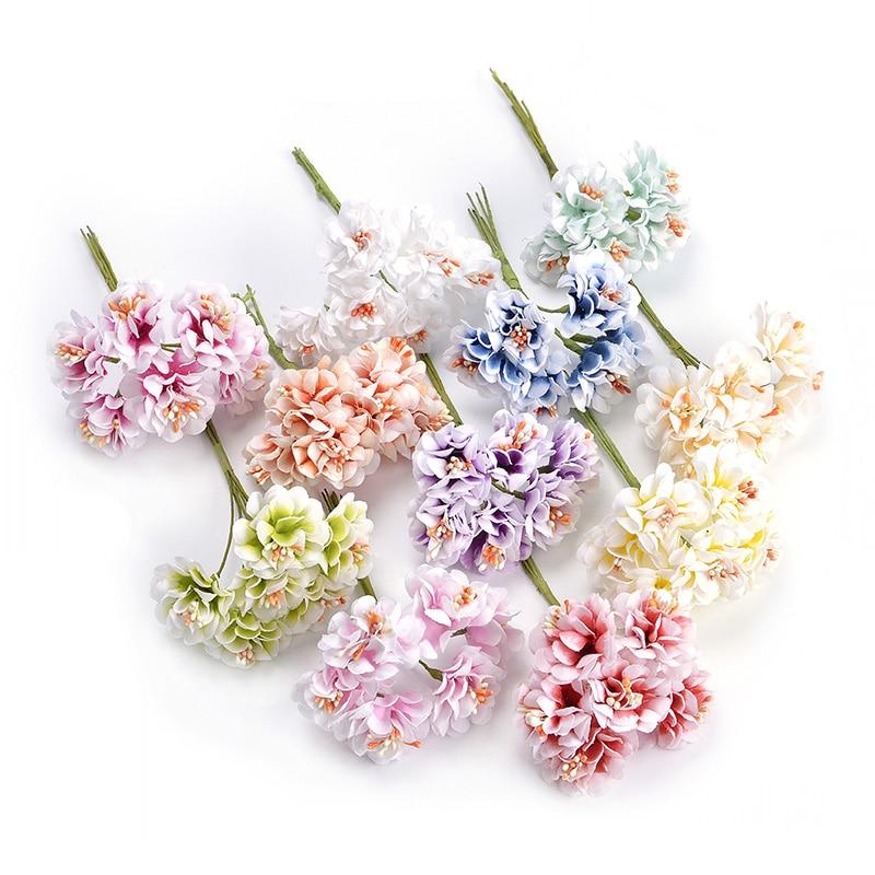 6pcs/bunch 3.5cm mini daisy flower bouquet artificial flower wedding decoration diy craft home decoration accessories