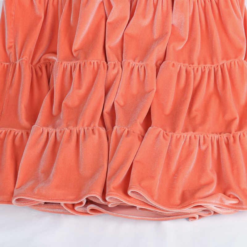Nerazzurri Midi a pieghe in velluto delle donne del vestito 3/4 del manicotto di soffio Nero bianco vestiti lunghi per le donne 2020 Più I vestiti di formato per delle donne