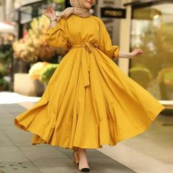 Vintage Solid Maxi Dress Women's Autumn Sundress ZANZEA 2021 Casual Puff Sleeve Vestidos Female O Neck Robe Belted Plus Size 5XL