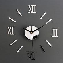 Новые 3D римские цифры бескаркасные большие акриловые зеркальная поверхность 3D DIY настенные часы домашний офис школа Настенный декор часы наклейки