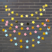 4M Pentagram Star Bunting Banner Pull Flags Garland Wedding Baby Shower Birthday Party Hanging Decoration Lahua space banner party decoration baby shower birthday banner party supplies kids boy girl birthday decoration bunting garland flags