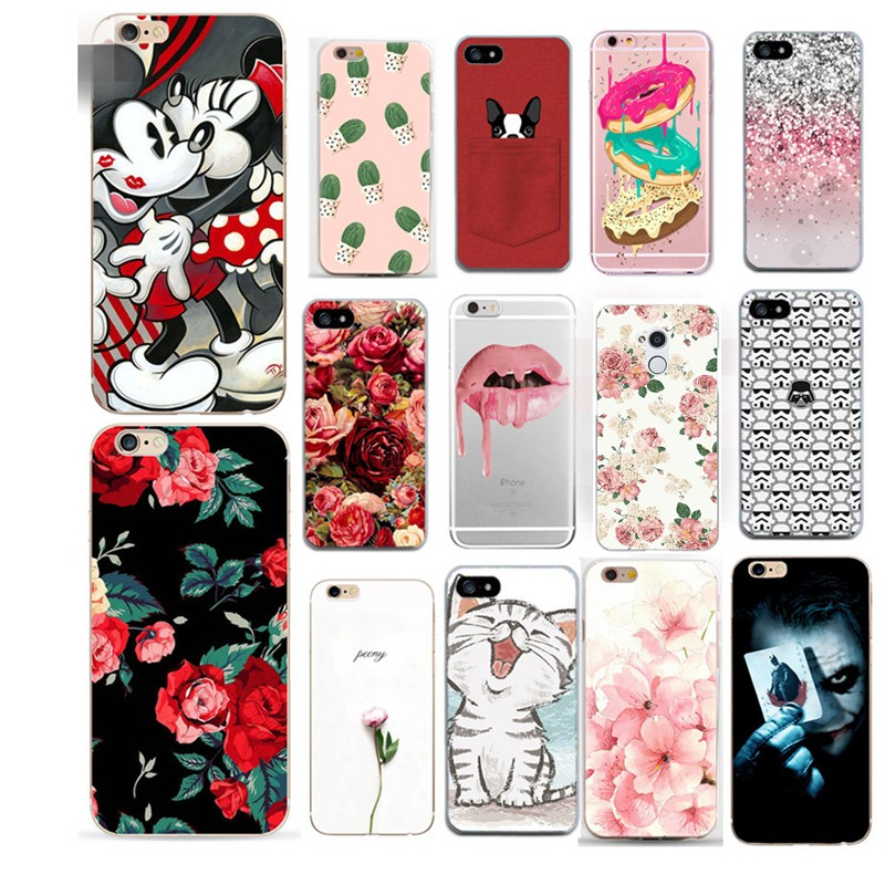 Case For Iohone 8 Cover Flower Print Clear Transparent Skin For Iphone 8 7 7 Plus 6 6S 5 5S SE Cases Dogs Cat Pattern Thin Coque image