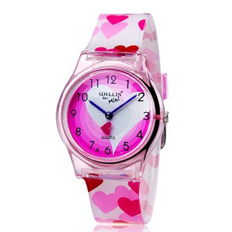 Cute Female Student Quartz Waterproof Watch Transparent Plastic Pink Love Children Watch Gift
