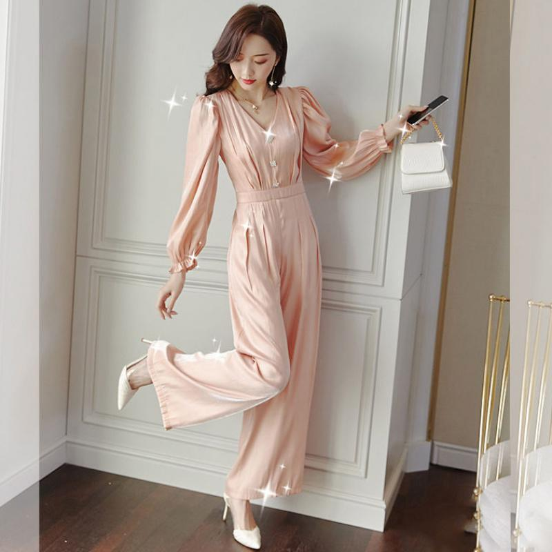 Women 2020 Autumn Winter Wide Leg Pants Long Jumpsuit Female Elegant V-Neck Lantern Sleeve Beading Rompers New Jumpsuits N247