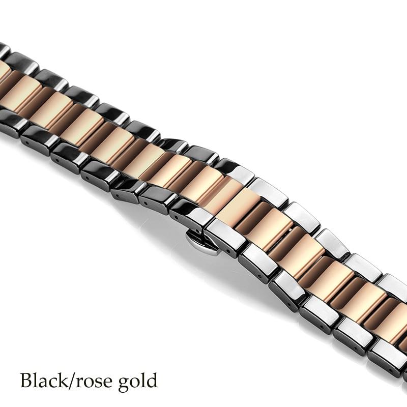 Керамический ремешок для часов для xiaomi smart watch сменный ремешок для mi часы браслет-цепочка ремешок аксессуары - Цвет ремешка: black rose gold