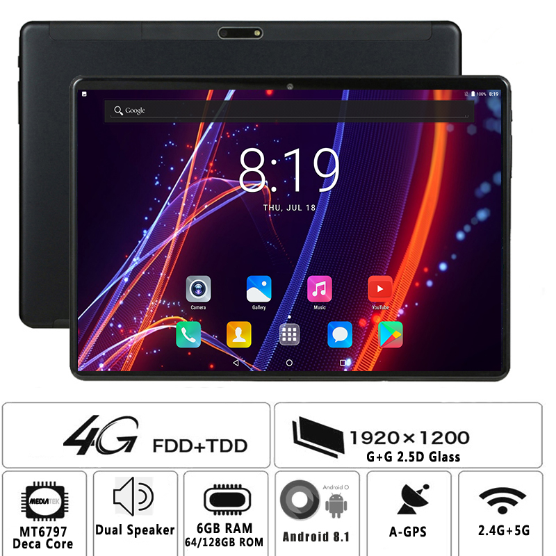 2020 Global Version Deca Core 10 Inch Tablet Pc 6GB RAM 128GB ROM 1280*800 IPS Dual Sim 4G Tablets Android 8.1 Tablets 10.1