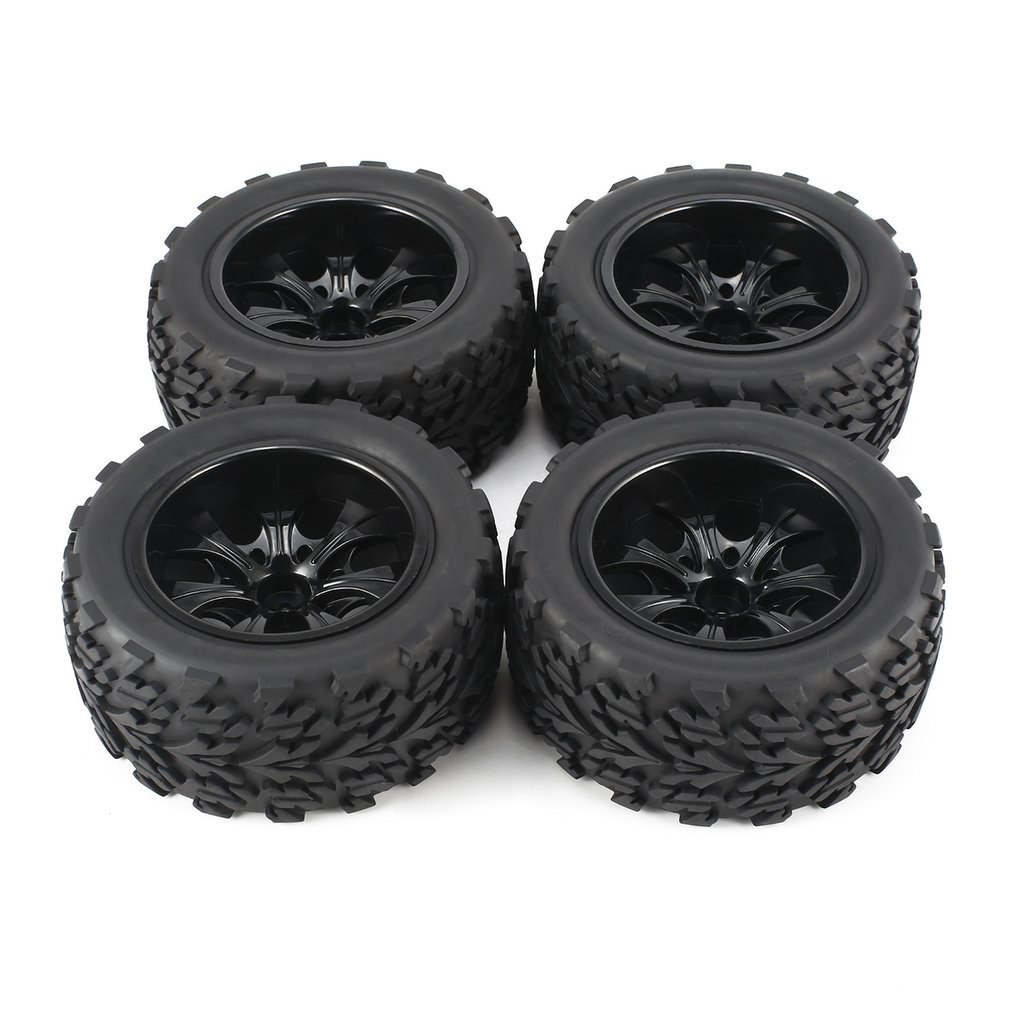 4Pcs 120mm 7 Contour Public Word Fetal Flower Off-road Wheel Rim And Tires For 1/10 Monster Truck Racing RC Car Accessories