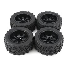 4Pcs 120mm 7 Contour Public Word Fetal Flower Off-road Wheel Rim and Tires for 1/10 Monster Truck Ra